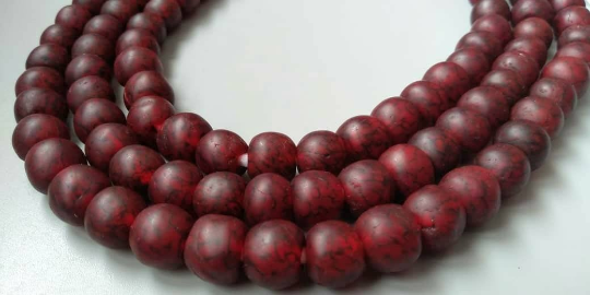 African Beads Ghana Krobo Recycled Glass speckled red