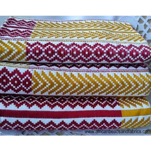 Kente-Fabric-Ghana-Handwoven-Ethnic-Cloth-maroon-white-gold-watermarked-2-2