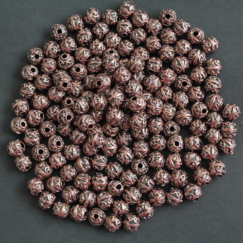 Metal-beads-spacers-round-copper-finish-Greek