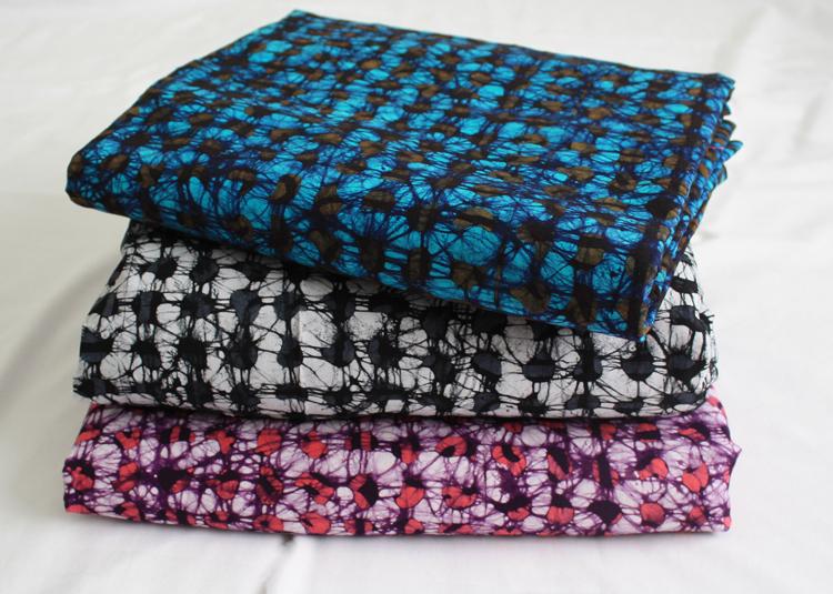 African-Batik-Fabric-Ghana-Cotton-Print-Pink-Grey-Cyan