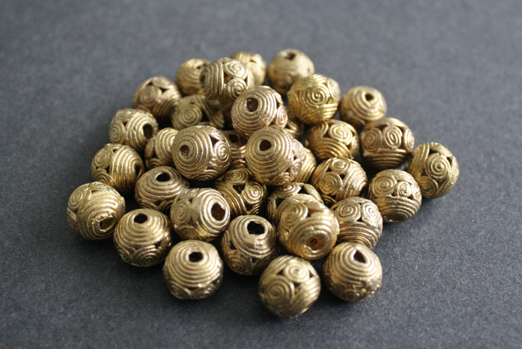 African-Brass-Beads-Ghana-Ashanti-Lost-Wax-Round-11-to-12-mm-spirals