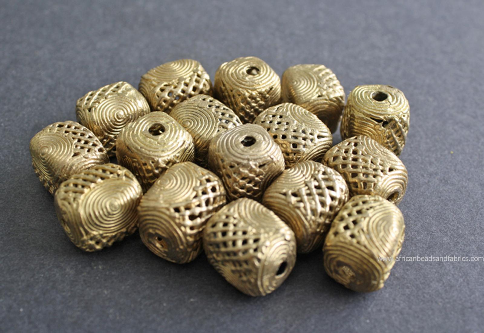 African-brass-Beads-Ghana-Ashanti-Lost-Wax-Cuboid-20mm-watermarked