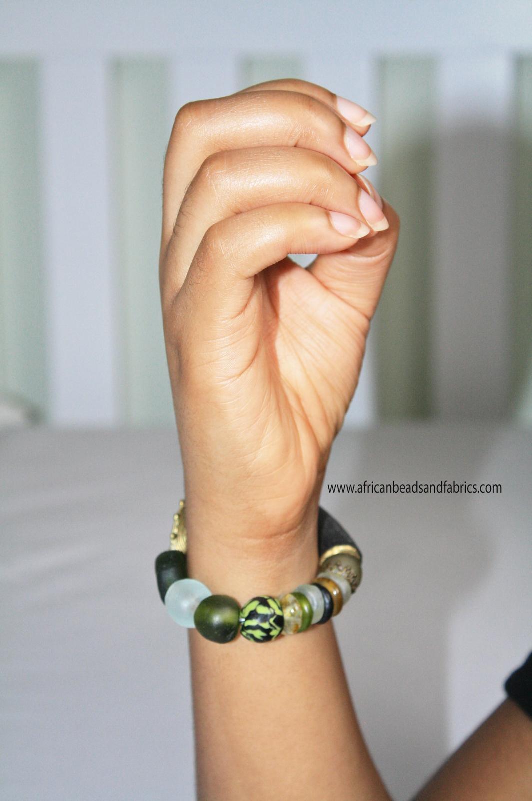 african-beaded-bracelet-green-gold-black-modelled-watermarked