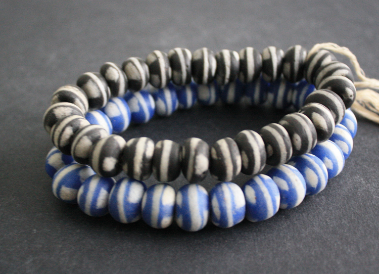 African-Beads-Ghana-Krobo-Recycled-Glass-Round-Black-Blue-White