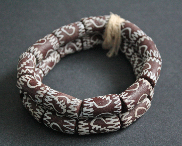 African-Beads-Large-Brown-Recycled-Glass-Adinkra-Design