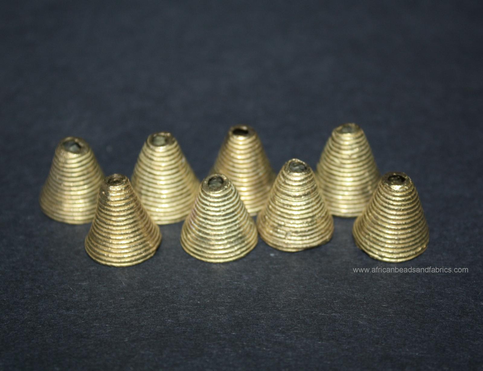 African-brass-cone-beads-stripey-design-watermarked