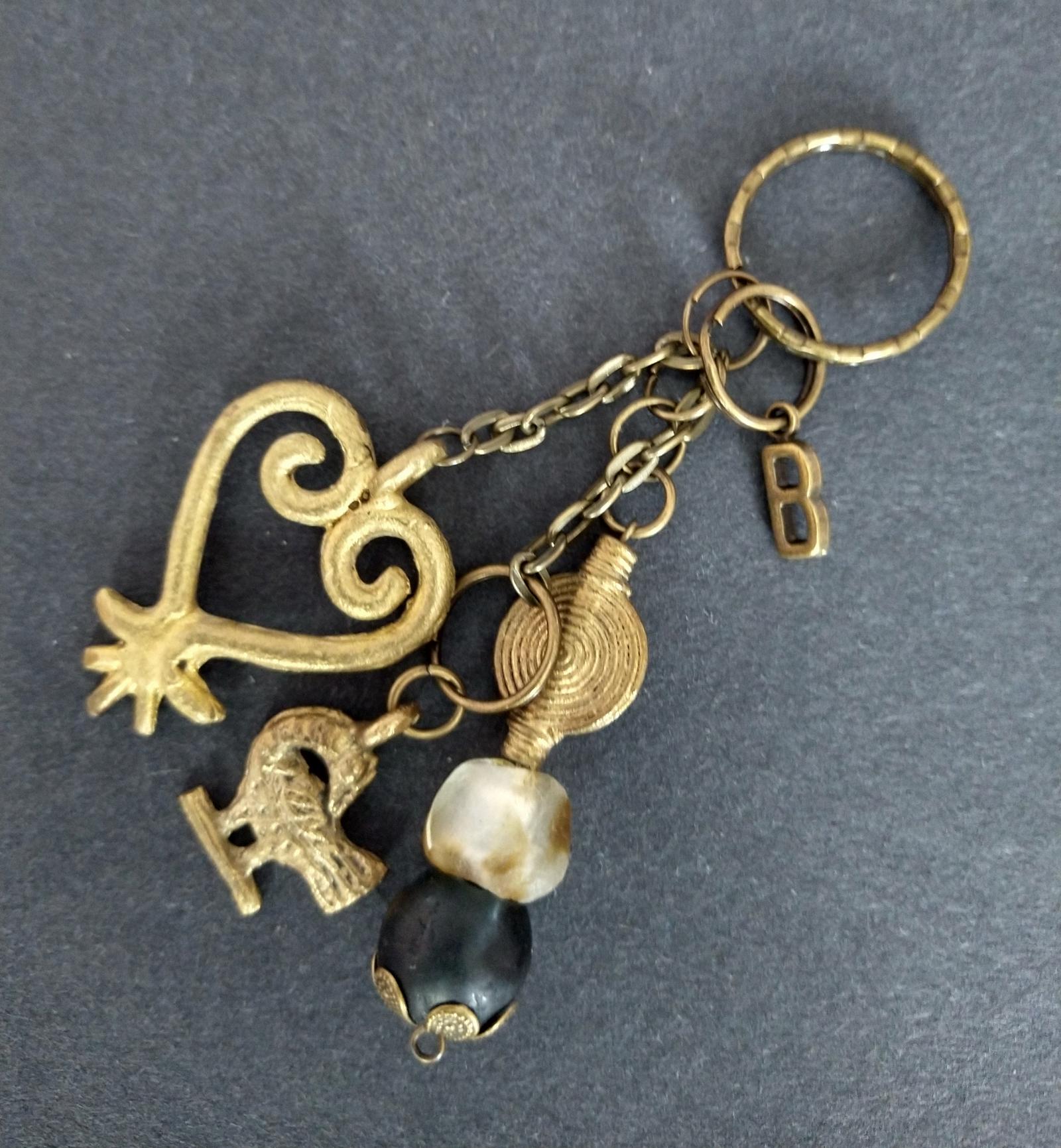 Bag-Charm-African–Beads-Brass-Adinkra–2-Sankofa-Pendants