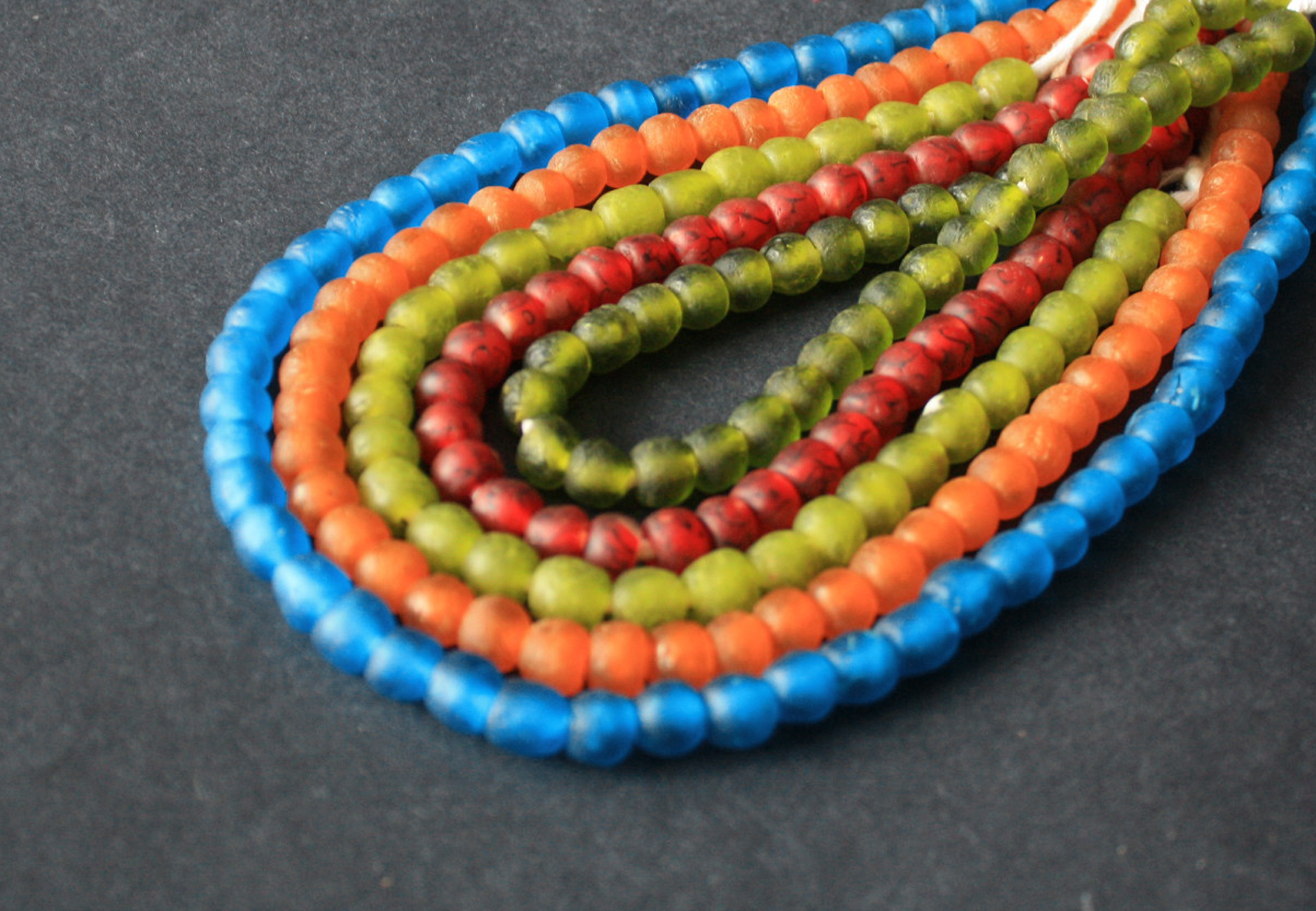 African-Beads–Ghana-Krobo-Recycled-Glass-8-to-10mm-Turquoise-Orange-Red-Green