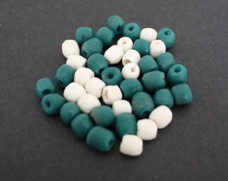 African-Beads-Ghana-Krobo-Recycled-Glass-Teal-White-Mix-8-mm