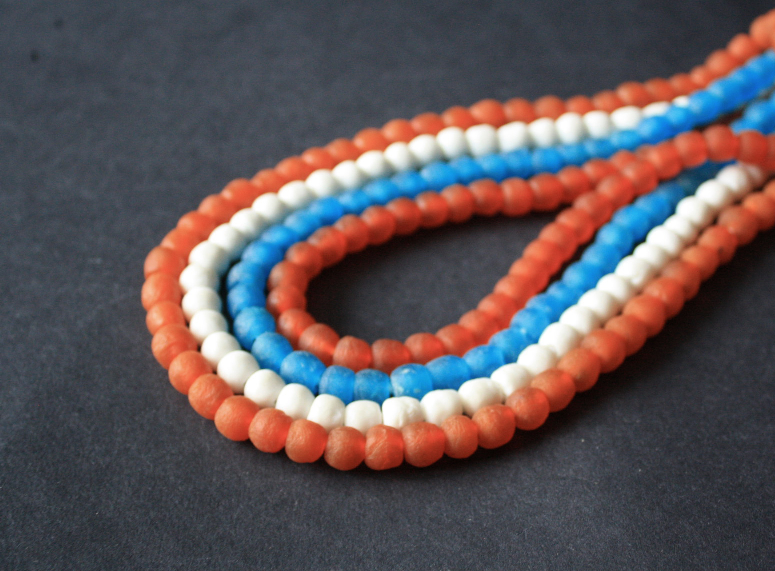 African-Beads-Krobo-Ghana-Recycled-Glass-Orange-white-turquoise-8-to-10mm