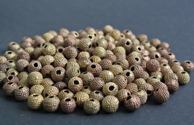 African-Brass-Beads-Round-11-to-12–mm-woven-horizontal-stripes-side-view