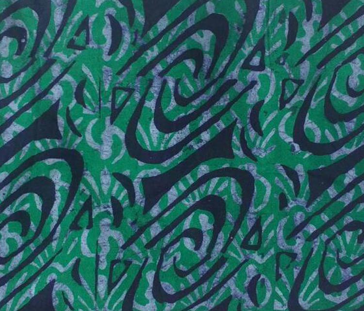 African-Fabric-Ghana-Batik-Cotton-Green-Navy-Blue