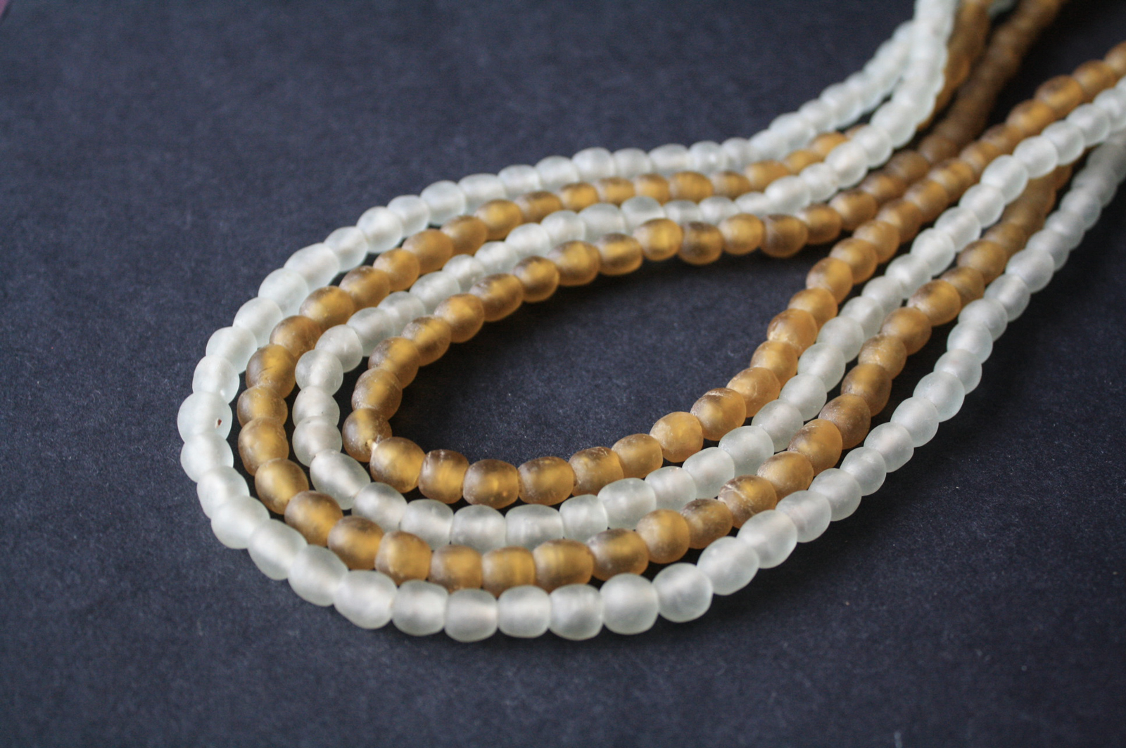 African-beads-Ghana-Krobo-Recycled-Golden-Brown-Frosty-white-9mm