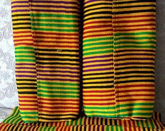 Kente Fabric Ghana Authentic Handwoven Cloth Multi Stripes