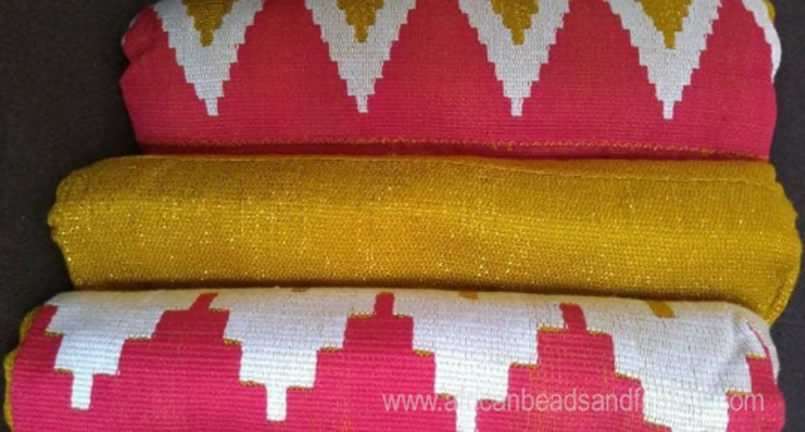 Kente-Fabric-Ghana-Handwoven-Ethnic-Cloth-Red-and-Gold