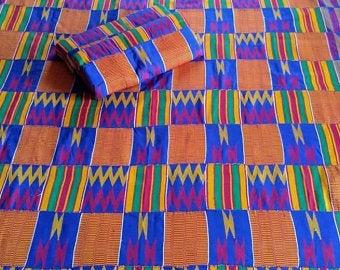 Kente Fabric Handwoven Blue Cotton
