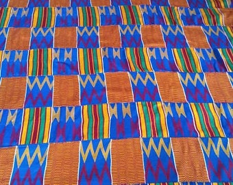 Kente Fabric Mens blue authentic handwoven Ghana cloth