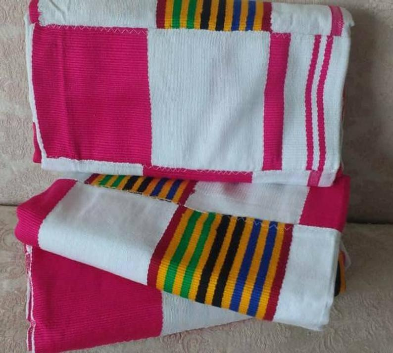 Kente Fabric White Pink Ghana Authentic handwoven cotton