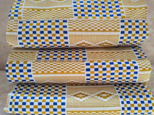 Kente fabric gold white blue 6 yards