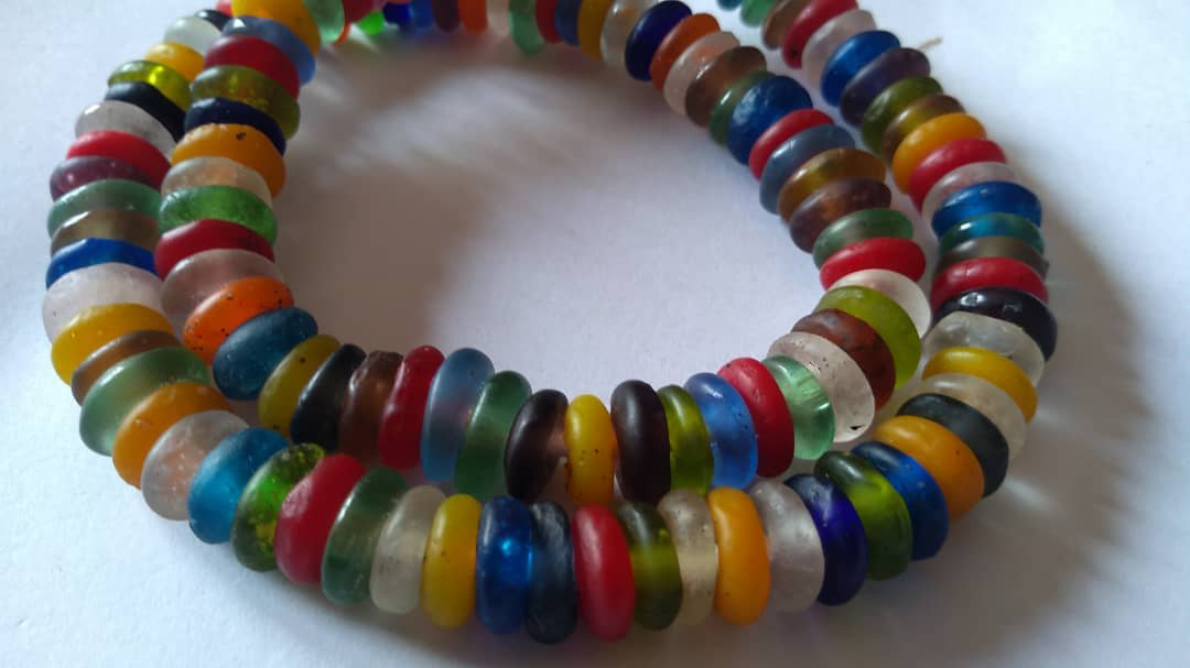 African-Beads-Krobo-Ghana-Recycled-Glass-Disc-Spacers-Multi-10-ro-12mm