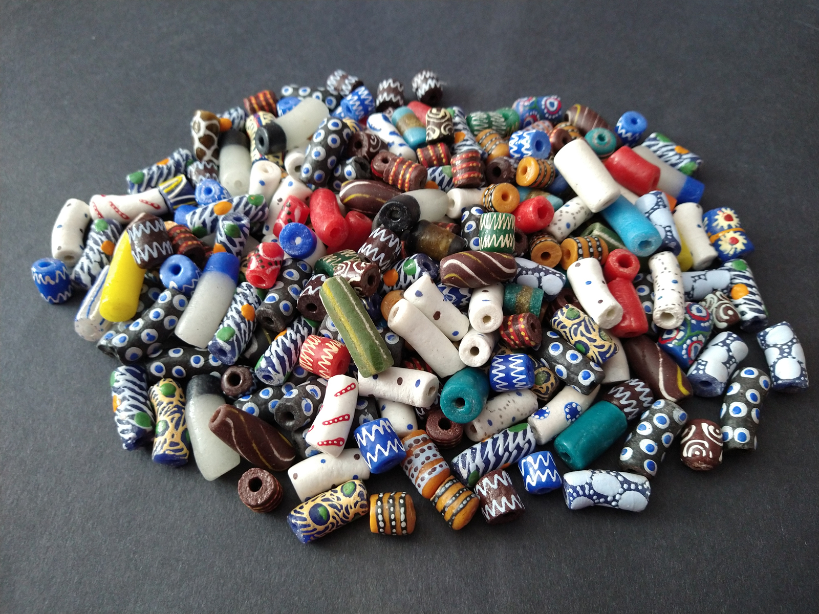 African-Beads-Ghana-Krobo-Recycled-Glass-Mixed-Tubes-2021-Spring