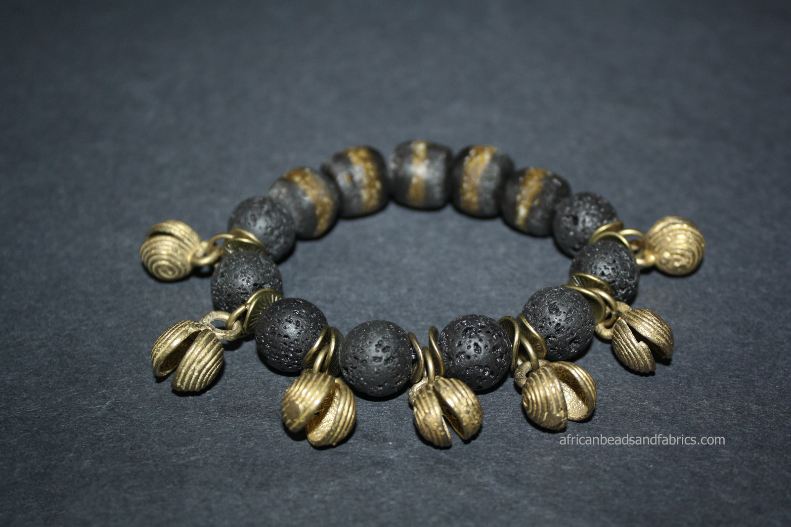 Lava-Bracelet-12mm-with-brass-beads-and-recycled-glass-beads-and-fun-bells-watermarked