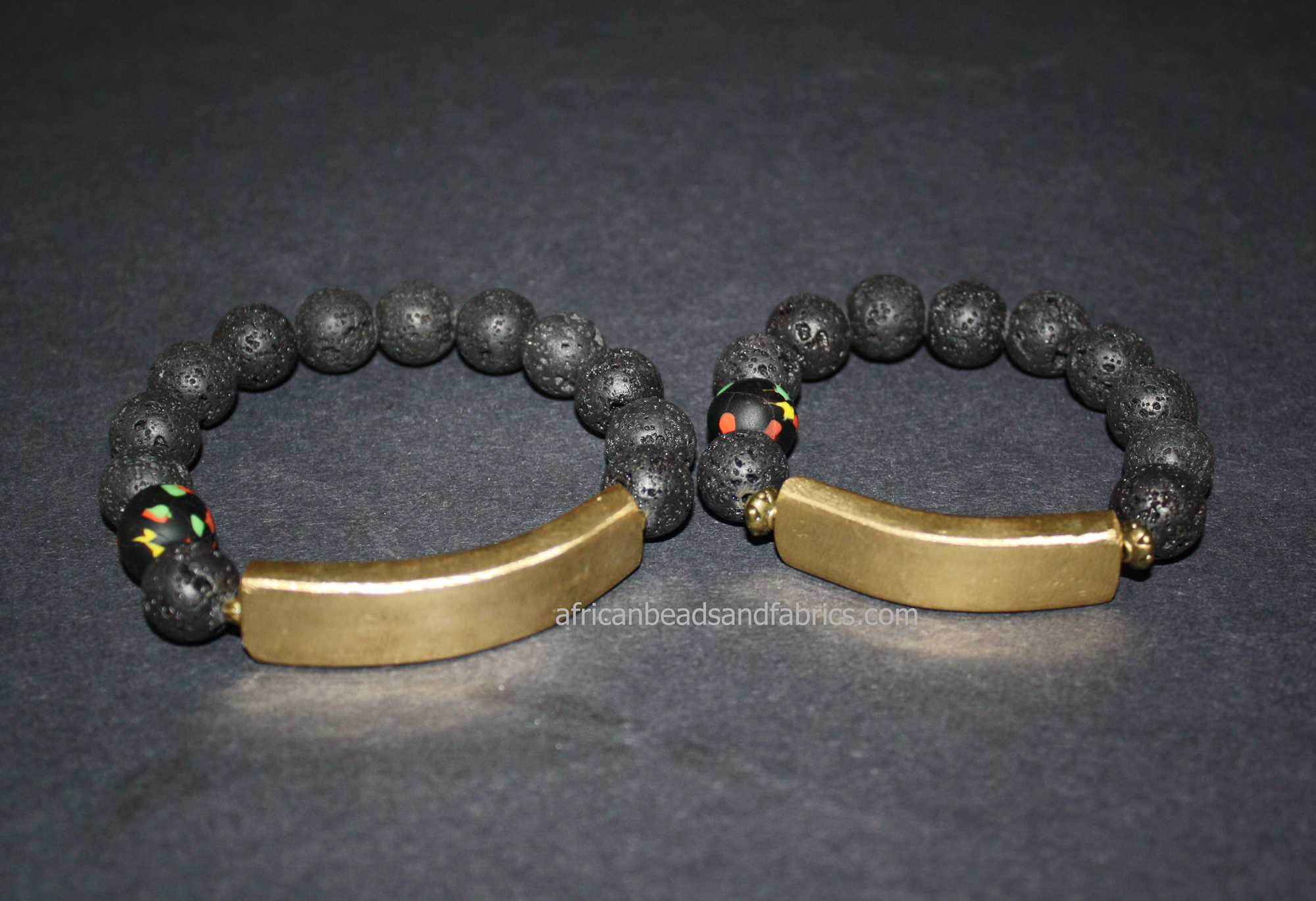 Natural-Lava-Bracelet–12-mm-black-withSankofa-Brass-Bar-His-and-Hers.watermarked