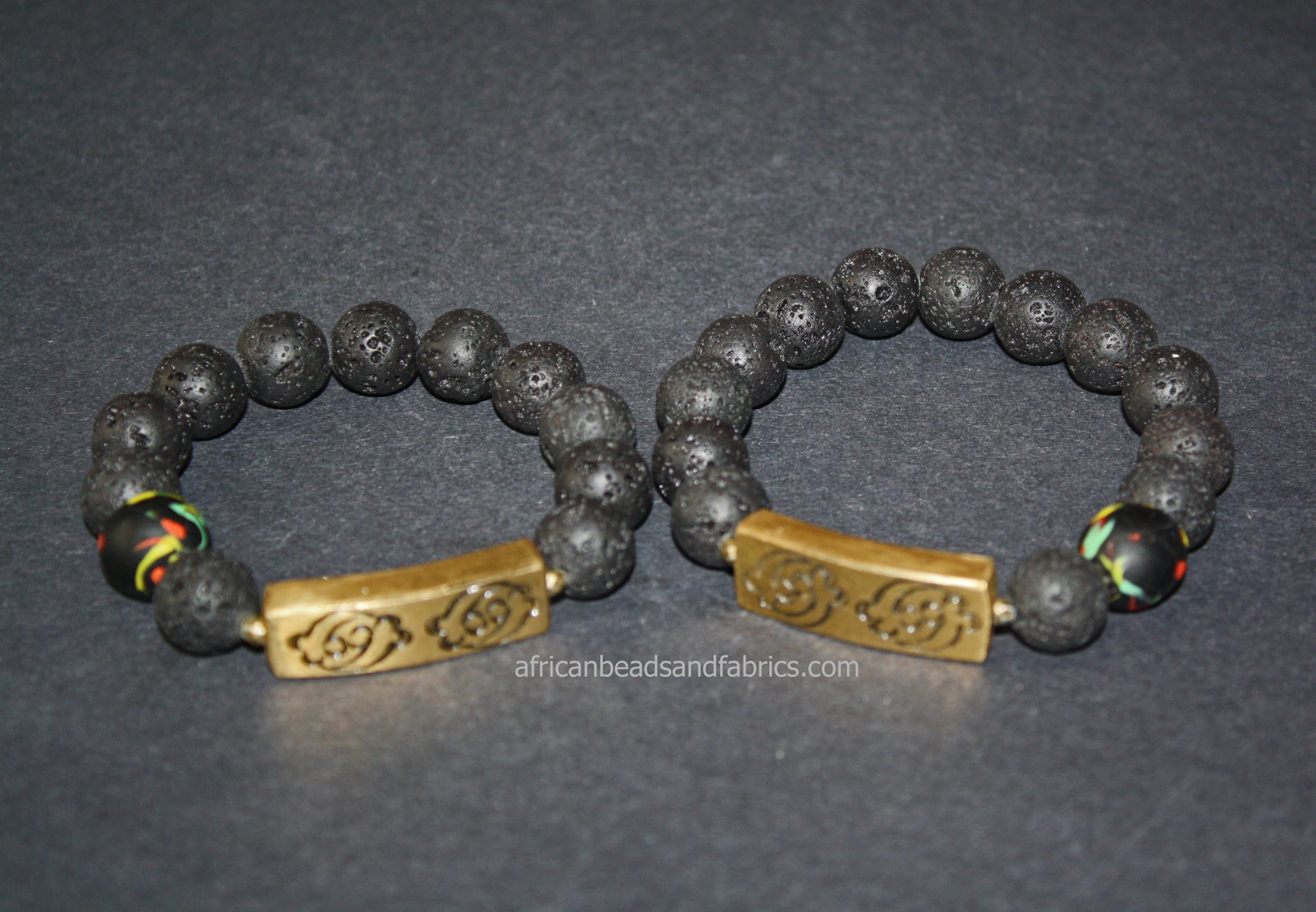 Natural-Lava-Bracelet–12-mm-black-withSankofa-Brass-Gye-Nyame-Bar-His-and-Hers.watermarked