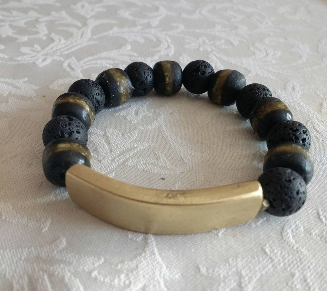 Natural-Lava-and glass Bracelet-12-mm-black-with-Brass-Bar