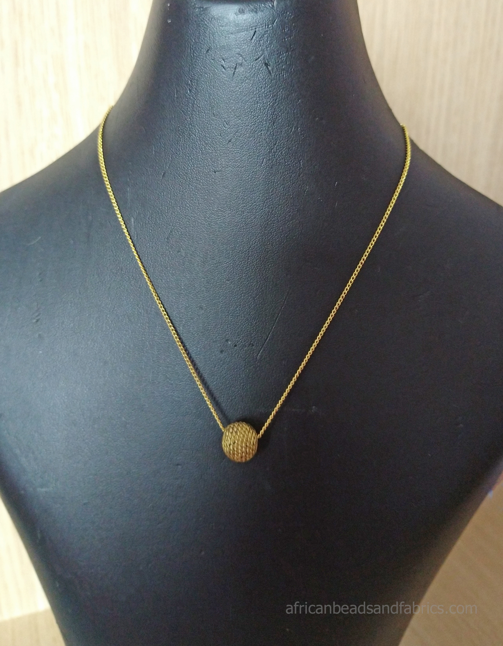 Gold Chain Necklace with African Brass Bead5