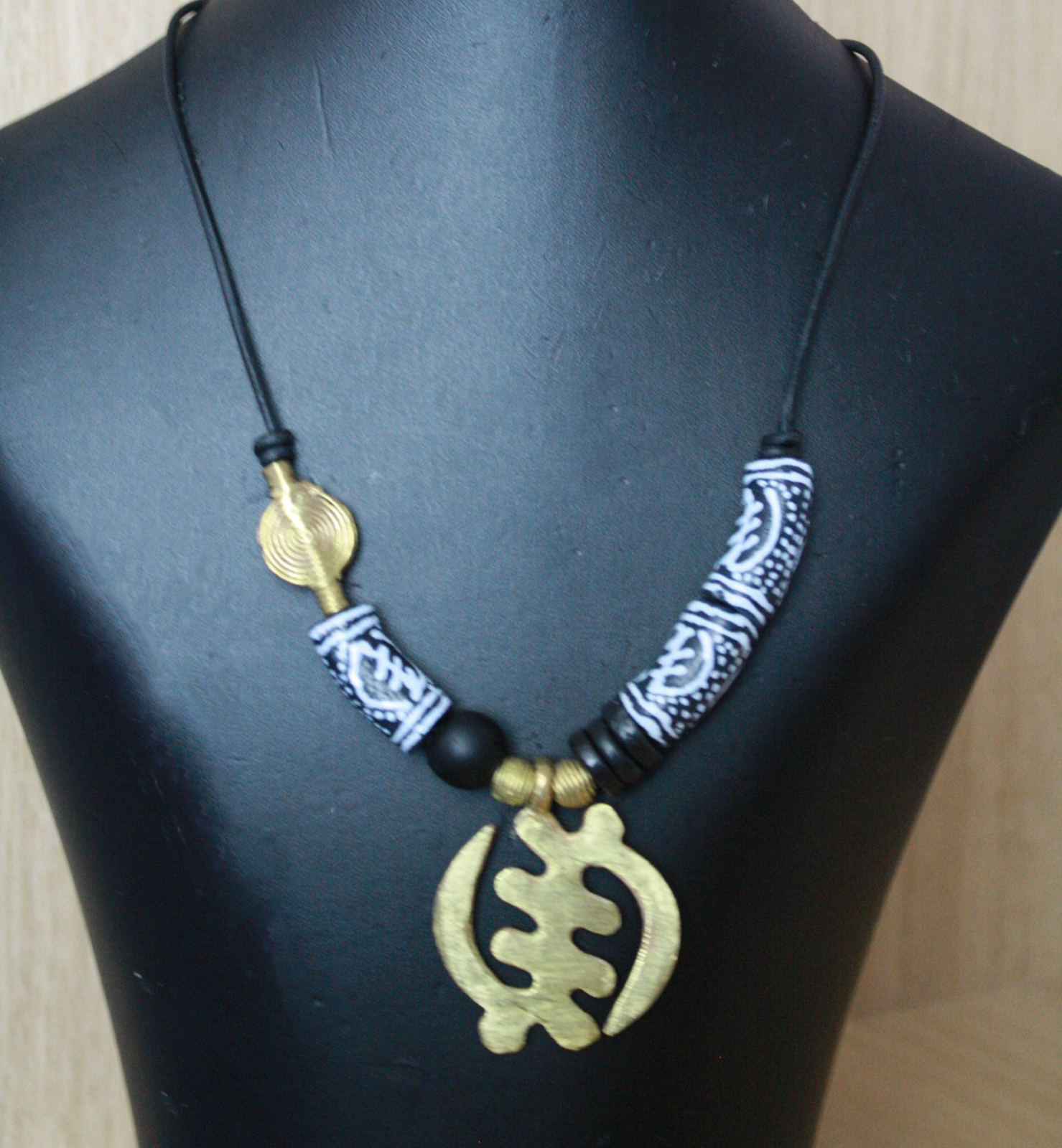 African-Leather-Adinkra-Necklace-with-Recycled-Glass-Beads-and-Adinkra-Gye-Nyame-Pendant-2
