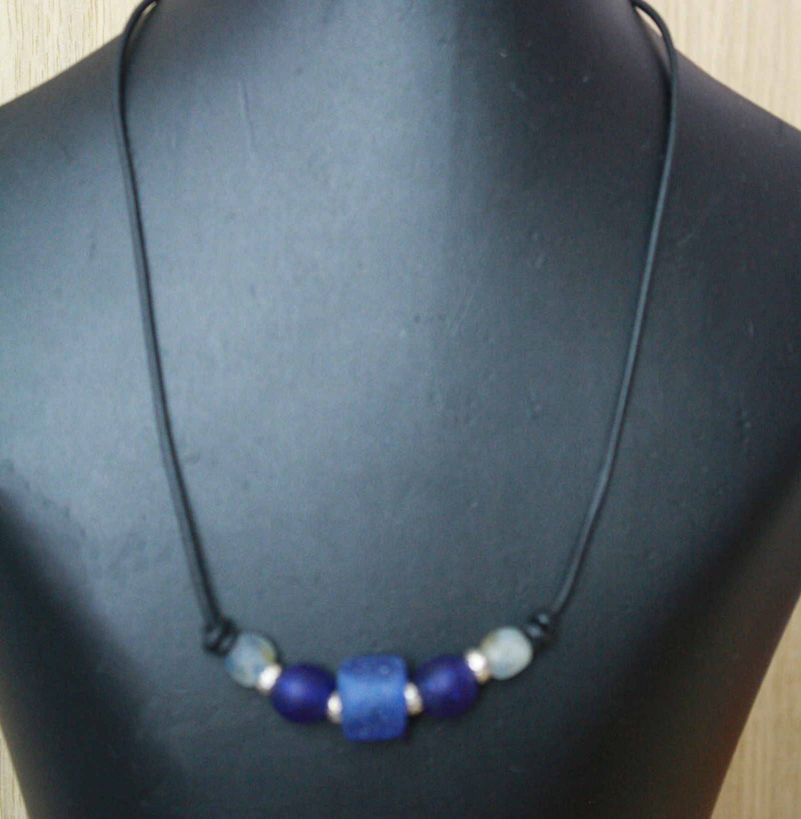 Leather-cord-necklace-with-recycled-glass-and-Greek-beads-blue-tones