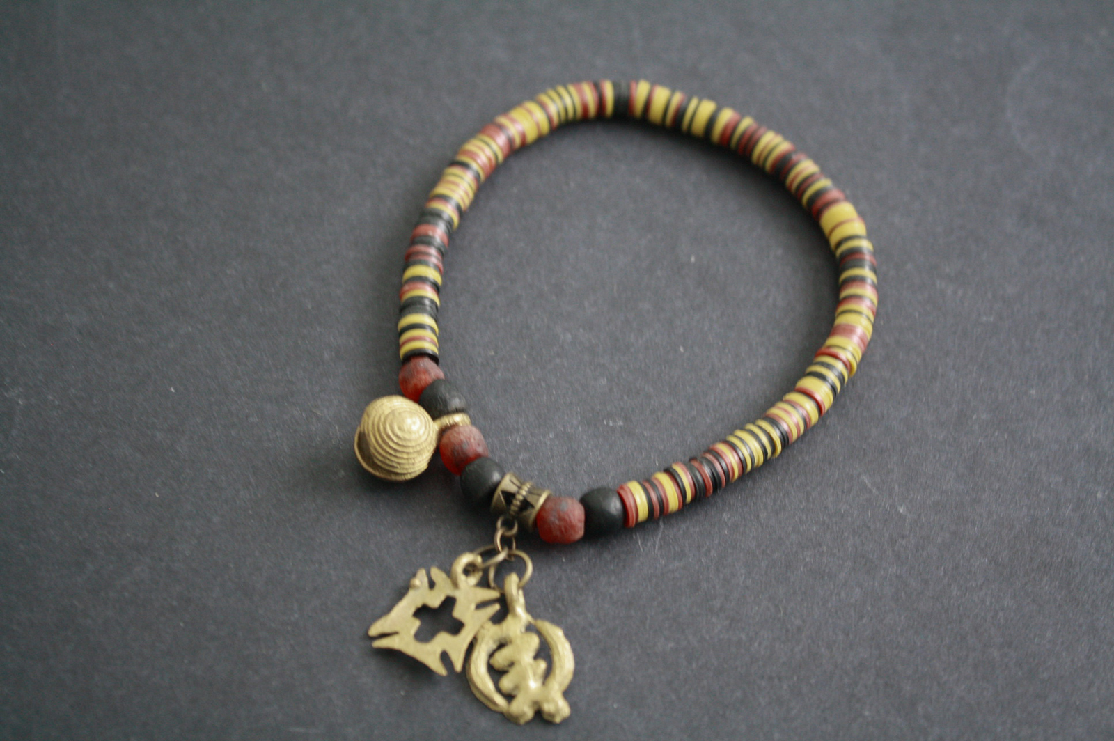 African-Jewelry-Adinkra-Anklet-Heishi-Vinyl-Yellow-Mix-Beads-2-Adinkra-Charms-and-fun-bell