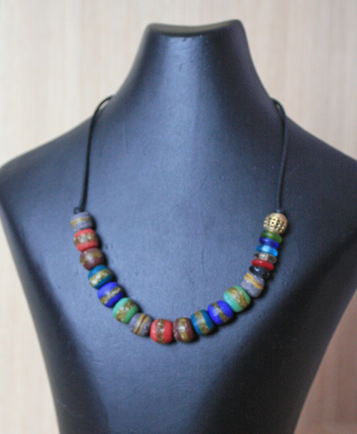 African-glass-bead-necklace-with-buffalo-leather-cord-multicolour-round-beads