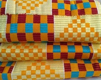 Kente fabric Authentic handwoven Ghana Cloth Cream Red blue