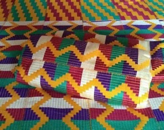 Kente Fabric Authentic Handwoven Cotton cream green purple