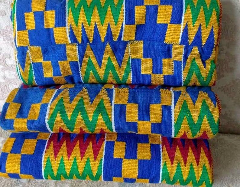 Kente Fabric Blue Ghana Cotton Fathia