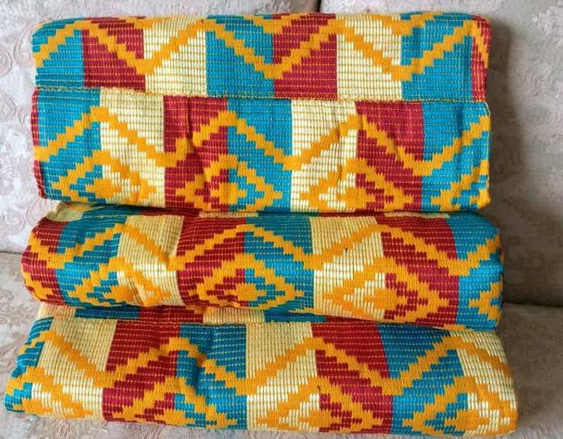 Kente Fabric Ghana Coton fabric cream blue red
